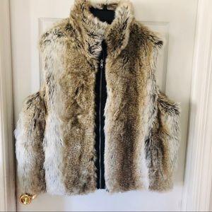 Faux vegan fur reversible vest size 1X